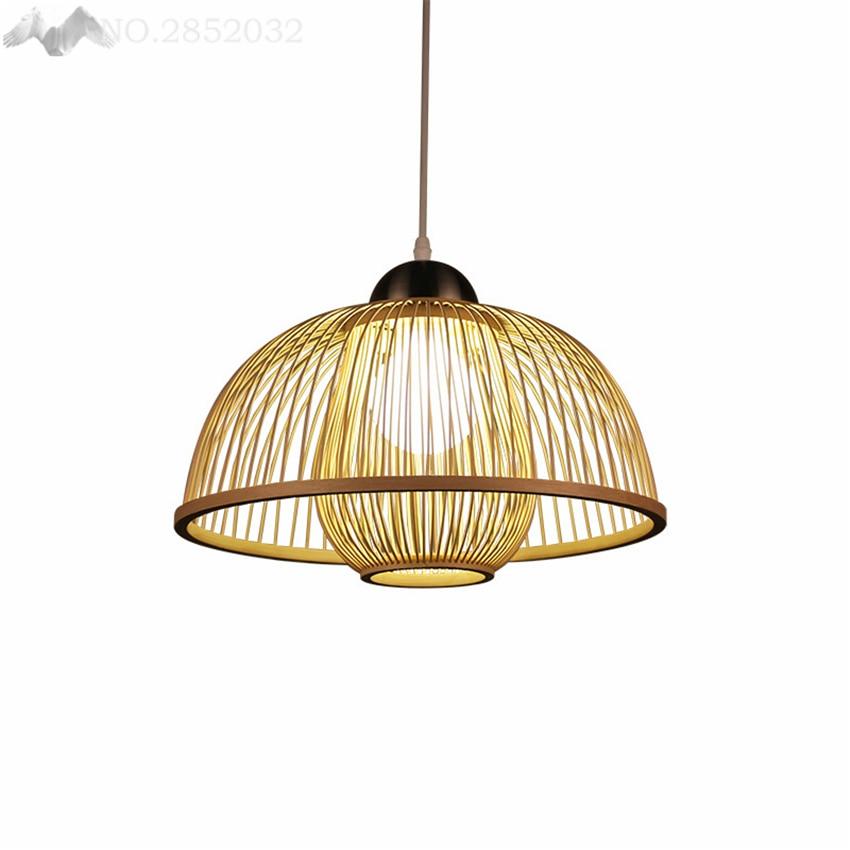 LFH style chinois classique à tricoter à la main bambou art lustre moderne lampe rurale pour restaurant hôtel salon chambre