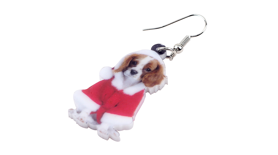 Bonsny Acrylic Cute Christmas Cavalier King Charles Spaniel Dog Earrings Big Long Dangle Drop Women Girl Ladies Fashion Jewelry