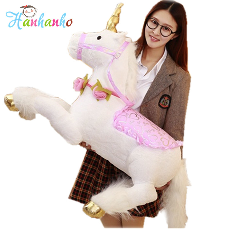Cute Giant Plush Unicorn Toy Kids Riding Horse Stuffed Big Animal Kids Party Birthday Gift fancytrader 26 65cm giant stuffed soft plush lovely big funny stitch toy cute gift for kids free shipping ft50691