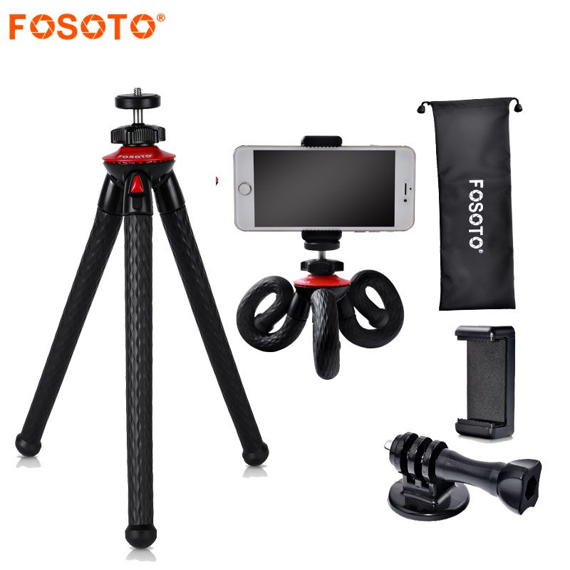 fosoto Mini Flexible Tripod Stand Octopus Waterproof Tripods&Phone Holder For Gopro iPhone X Smartphone DSLR Camera Nikon Canon fosoto medium octopus flexible digital camera stand gorillapod monopod mini tripod with holder for gopro hero 2 4 3 3 and phone