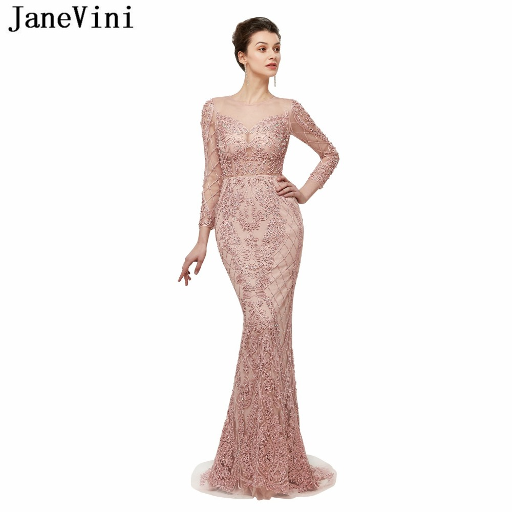 JaneVini 2018 Vintage Long Sleeves Mermaid Bridesmaid Dresses Sweep Train Illusion Tulle Back Luxurious Beading Prom Party Gowns in Bridesmaid Dresses from Weddings Events