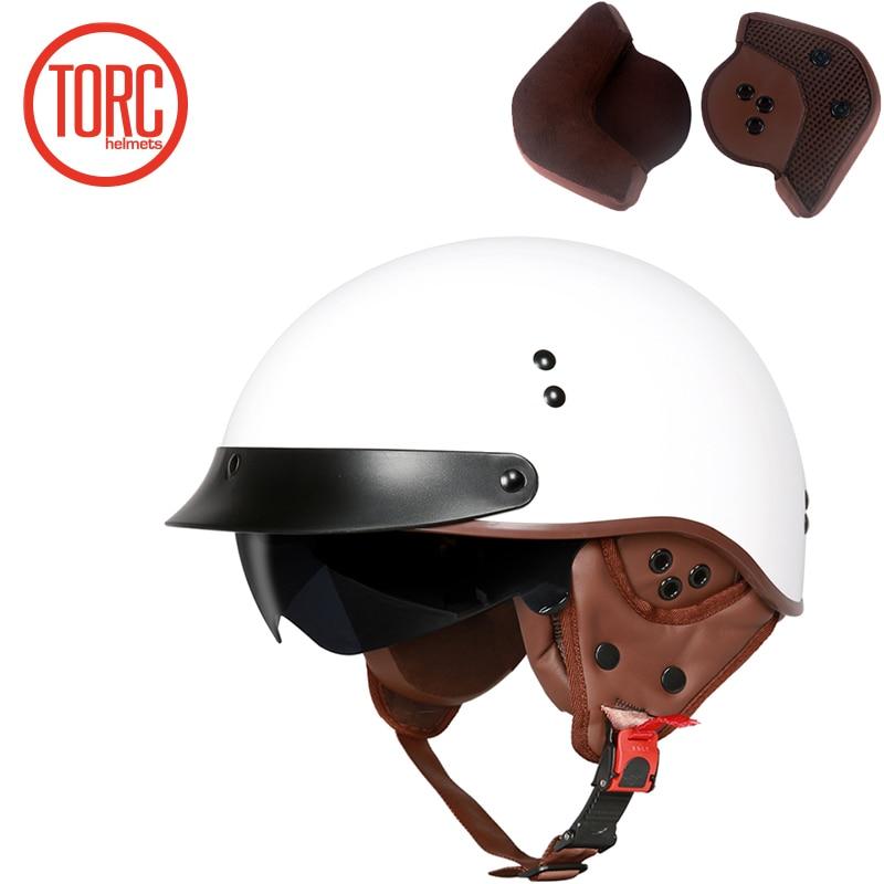TORC New Arrival Vintage Half Face Motorcycle Helmet Casco Casque Moto  Retro Helmets With Inner Sun Visor lucky 13 helmet-in Helmets from Automobiles & Motorcycles    2