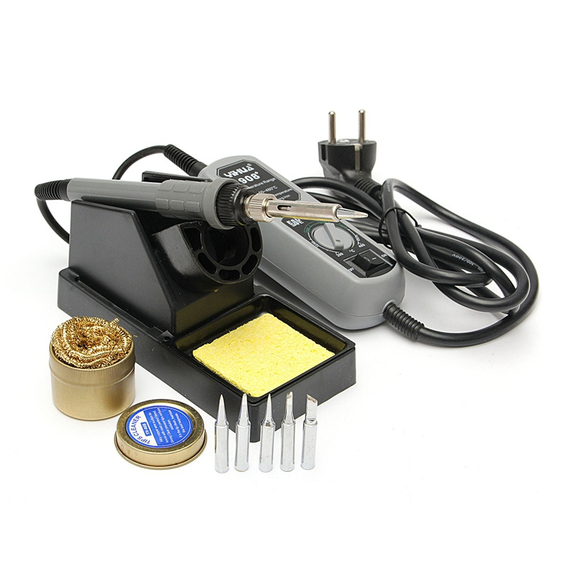 YIHUA 908+ Electric Iron Soldering Station 220V 60W 5pcs Iron Tip Adjustable Temperature+Free Solder Station Tool Kits 936 soldering station 220v 60 65w electric soldering iron for solder adjustable machine make seals tin wire solder tip