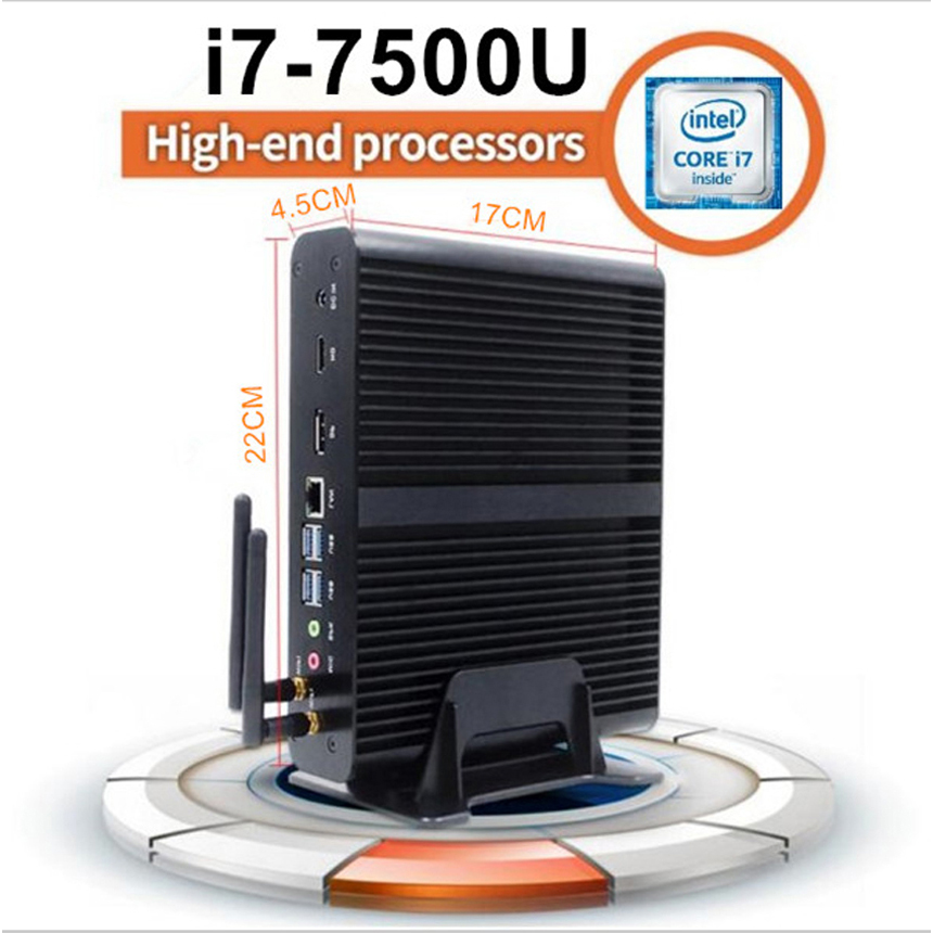 [7th Gen Intel Core I7 7500U] KabyLake Mini PC Windows Micro PC Max 3.5GHz HD Graphics620 4K HTPC Desktop PC Linux Kodi DDR4 RAM