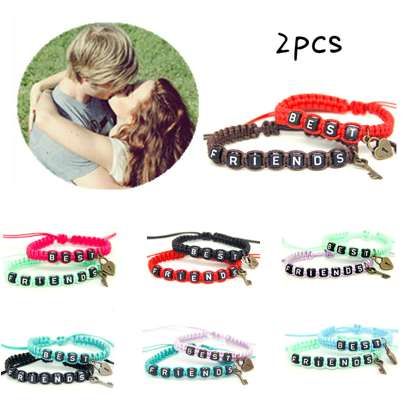 2pcs/pair Couple Bracelets Best Friends With Key Lock Rope Chains Lovers Personalized Gift Handmade Charm Bracelet Accessories bracelet