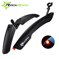ROCKBROS Flectional Mountain Bike Cycling Front Rear Mudguard Set Bicycle Durable Fenders With LED Rear Light