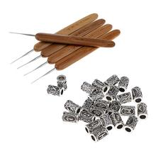 5 sztuk 0 5mm haki zapadki szydełkowe igły z 24 sztuk runy Viking koraliki dla włosów broda wisiorki naszyjnik DIY oplatania mikro warkocze tanie tanio Hak igły 29 Pieces Metal Hair Braid Rings as described