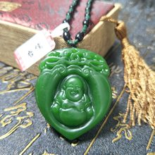 Send A-level national certificate Natural Hetian Biyu has a Buddha pendant in the heart Green rope obsidian beads pendant chain(China)