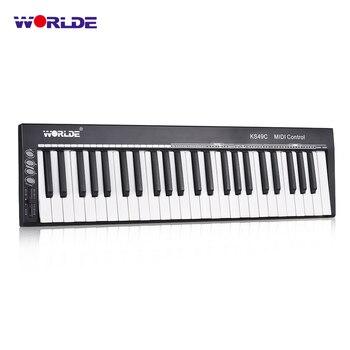 WORLDE KS49C MIDI Keyboard MIDI Controller 49 Keys USB Keyboard Controller with 6.35mm Pedal Jack  MIDI Out teclas do teclado musical