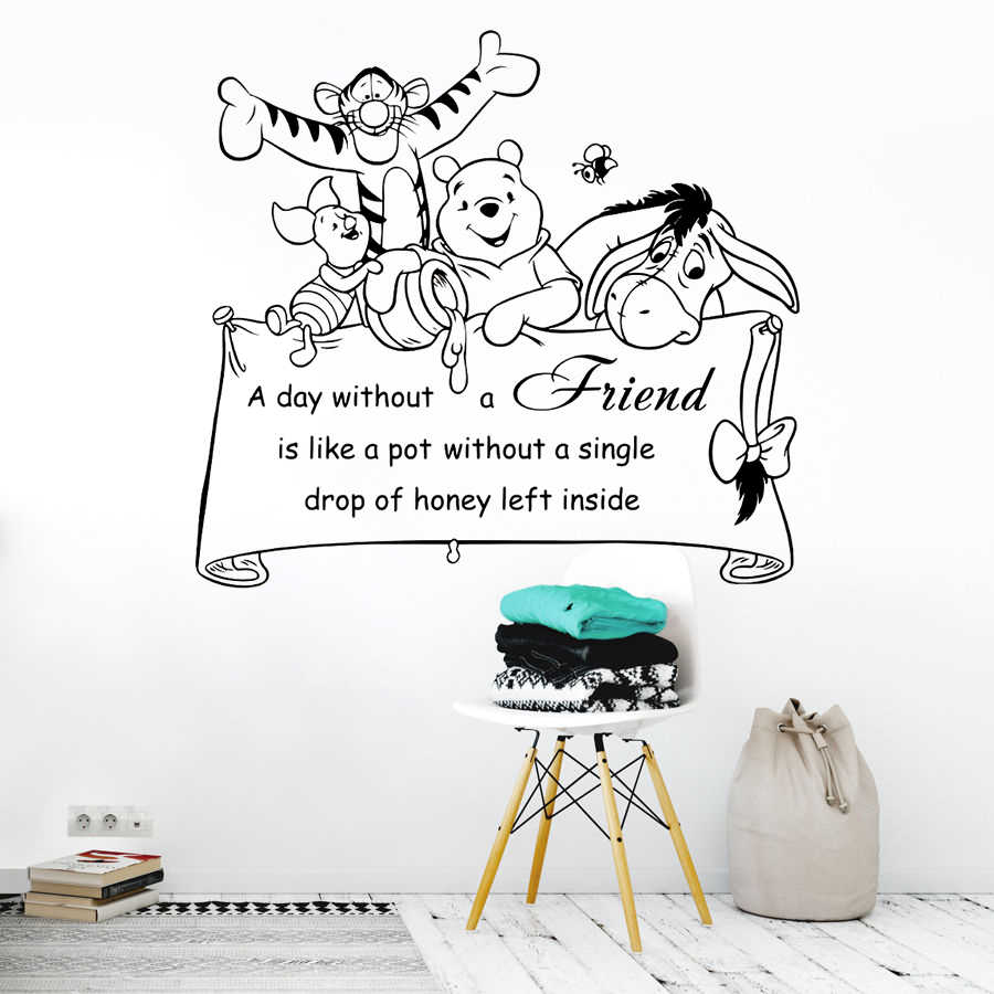 Nursery Decor Winnie The Pooh Quote Wall Decal Friends Together Poster Kids Room Removable Cartoon Mural Ay1692