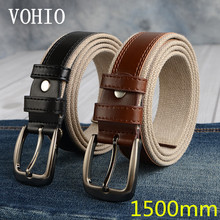 VOHIO 2017 men's large size belt Add long needle clasps Fatty canvas leisure belt 150cm for mendesigner belts men high quality