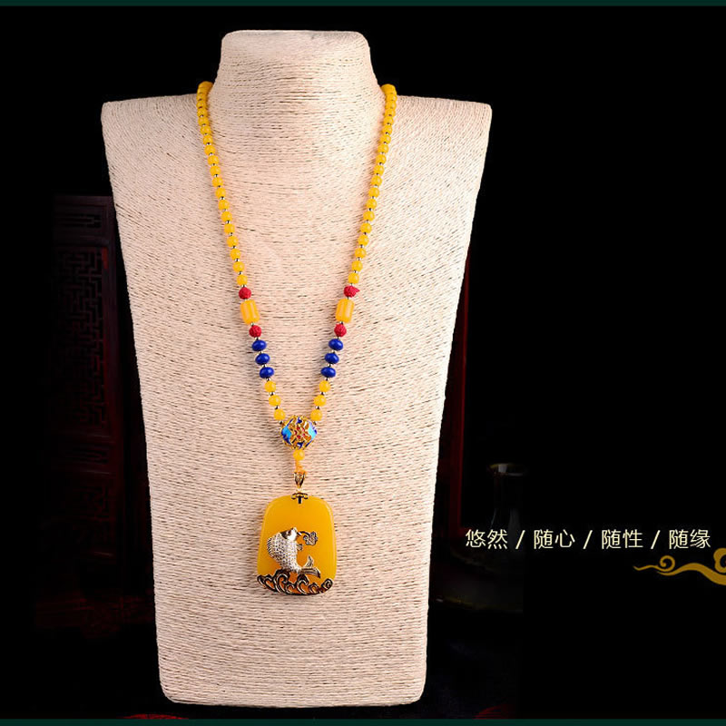 fish pendant with luxury yellow beads necklace 70cm Hot sale    fish pendant with luxury yellow beads necklace 70cm Hot sale