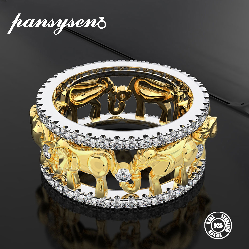 PANSYSEN Exquisite Luxury Elephant Animal 100% 925 Silver Jewelry Rings For Women Wedding Brand Gold Color Zircon Ring Wholesale
