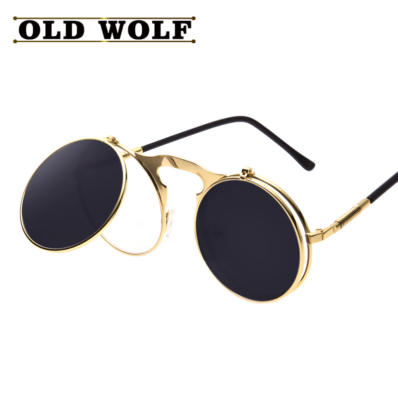 b6a9c4ace17e steampunk gothic sunglasses round designer steam punk metal clamshell  double frame women sunglasses men retro circle