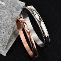 Нержавеющая сталь 6 мм 8 мм ширина манжеты дружбы розовое золото серебро покрытие вакуум любителей браслет пары браслет для Для мужчин wo Для ...