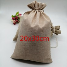 20x30cm Natural Burlap Gift Candy Bags Linen Jute Drawstring Bag Pouches Christmas Wedding Party Jewelry Packaging