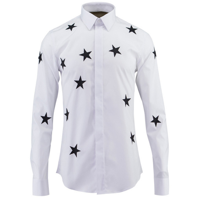 Extrêmement Star Print Shirt Men Chemise Homme Luxury Brand Design Mens Dress  TN88