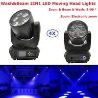 4IN1 Flightcase Pack 280W Mini Bee Eyes Moving Head Wash 6X40W RGBW 4IN1 O sram Beam Lights 3 60 Zoom Degree Angle LCD Display