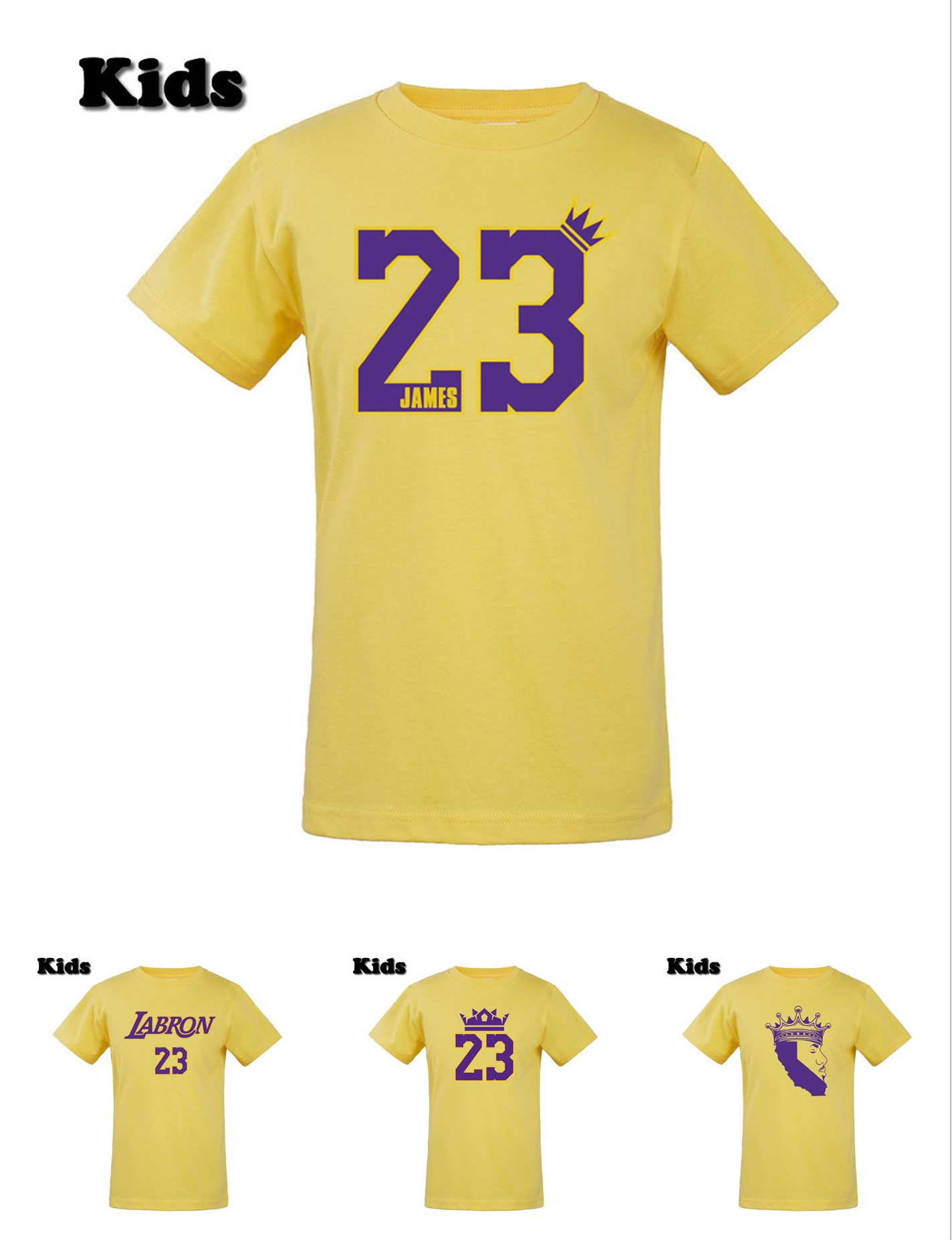 Girl Tshirt 23-Lebron King Boys Children Youth O-Neck for Los Angeles Fans Gift Tee GOAT