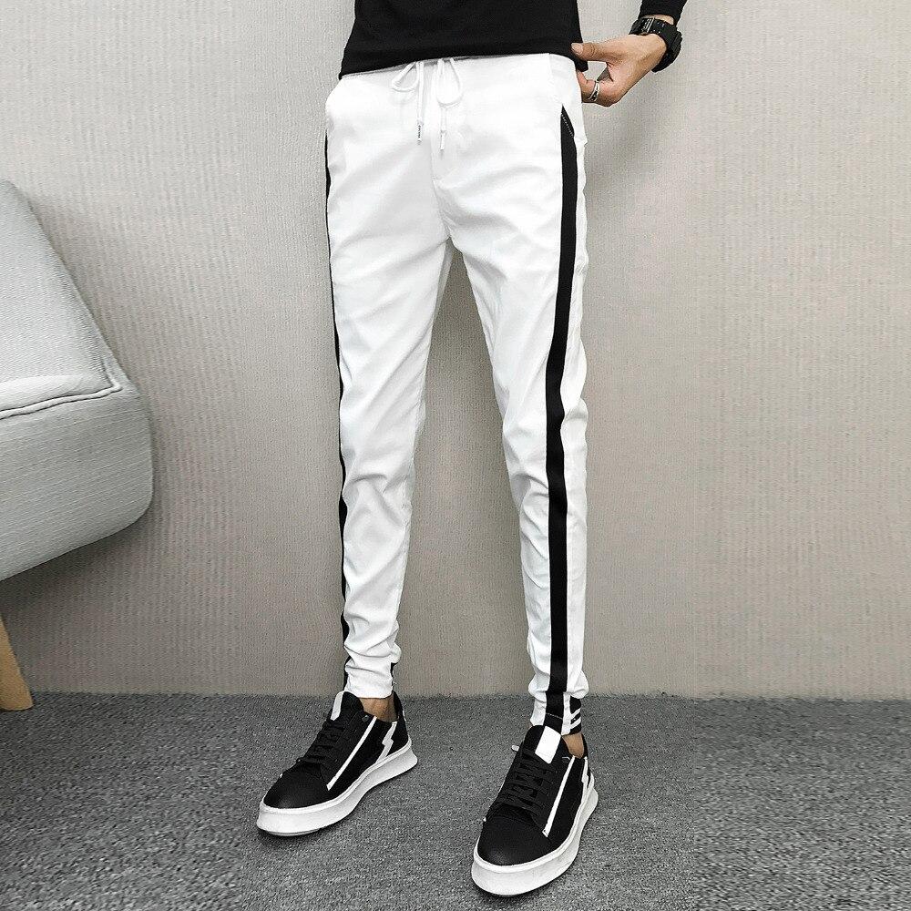Korean Autumn Pants Men Brand Side Stripe Slim Fit Men Joggers Hot Sale Casual Harem Pant Hip Hop Streetwear Men Clothes 2019