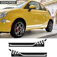 1 Pair Car Styling Racing Lattice Abarth Side Stripes Sticker Body Decor Graphics Decal For Fiat 500 Bravo Palio Accessories