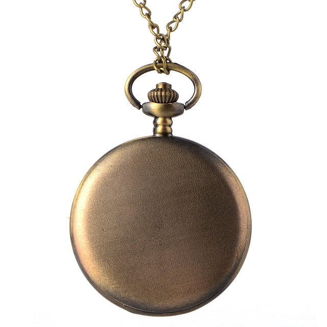 Vintage Antique Bronze Quartz watch Dad Pattern Necklace Fob pocket Watch Father's Day birthday Christmas gift 2017