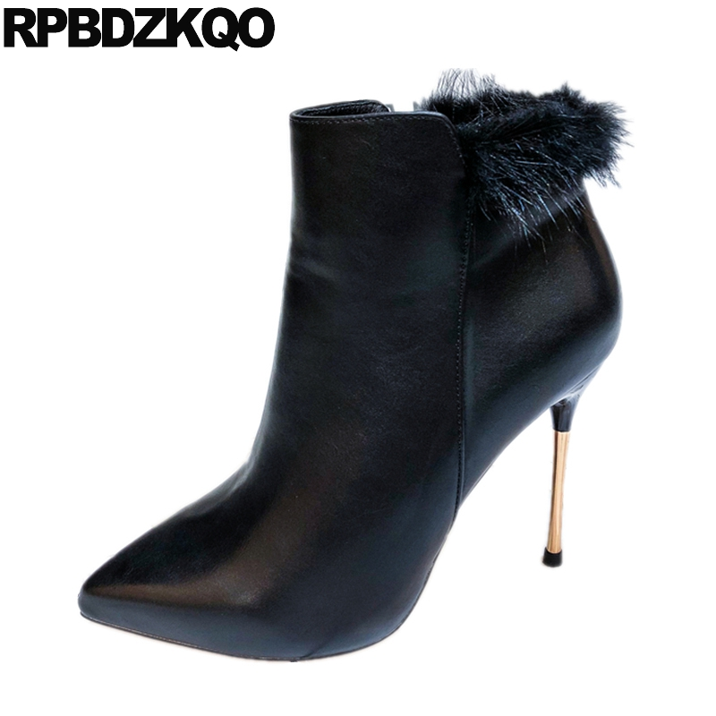 Exotic Dancer Extreme Women Boots Winter 2018 Stiletto Furry Fur Pointed  Toe Shoes Black Booties Fetish British Sexy High Heel e24fe753087e