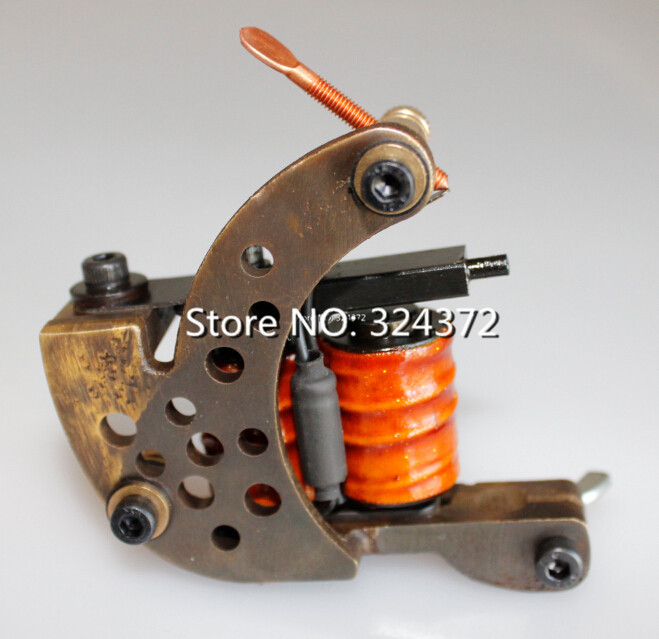 Professional brass wire 10 wraps shader manual handmade Cast brass frame Tattoo Machine Gun professional welding wire feeder 24v wire feed assembly 0 8 1 0mm 03 04 detault wire feeder mig mag welding machine ssj 18