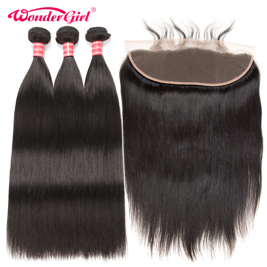 Remy Brazilian Straight Hair 3 Bundles Pre Plucked Lace Frontal Closure With Bundles Human Hair Bundles With Closure Wonder girl