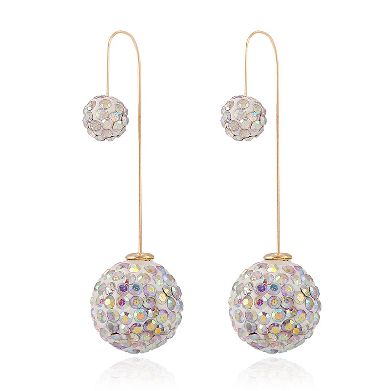 Top New Design Crystal Long Double Sided Earrings Elegant Boucle D  KW47