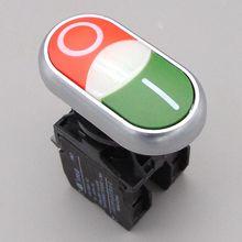 22 мм 1NO 1NC переключатели мгновенная кнопка Мгновенный кнопочный переключатель красная и Зеленая кнопка