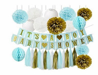 1 Satz Baby Shower Party Decor Baby Blau Weiß Gold Seidenpapier Pom Pom Waben Ball/Papierlaterne für Geburtstag junge