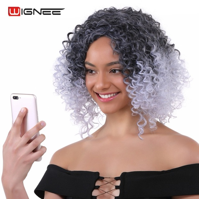 Wignee High Temperature Afro Kinky Curly Synthetic Wig For Black White Women  2 Tone Ombre Wig Grey Blue Purple Cosplay Hairstyle 449b0d023b