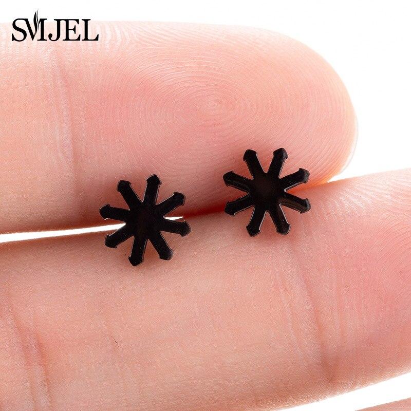 SMJEL, модные богемные ювелирные изделия из старинных серег, милые черные геометрические круглые серьги-гвоздики из нержавеющей стали, лучший подарок для женщин и девушек - Окраска металла: GED134