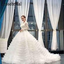 Erosebridal Long Sleeve Lace Wedding Dress 2019 New 3D Lace Ball Gown Bridal Gown with Chapel Train Tiered Skirt Custom Made tiered bell sleeve fitted lace dress