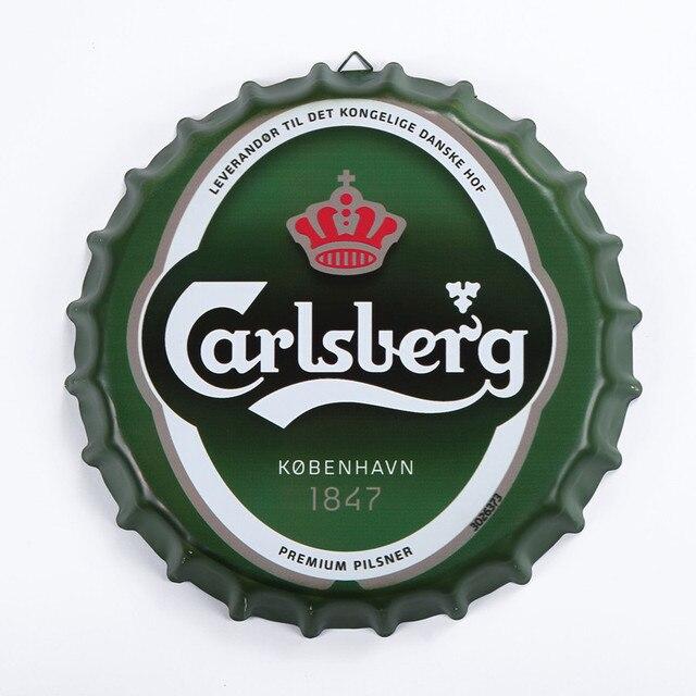 Tin Sign CARLSBERG Vintage Metal Painting Beer Lid Bar Pub Hanging Ornaments Wallpaper Decor