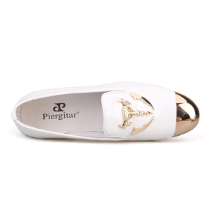 Image 4 - Piergitar 2019 מתכת הבוהן מתכת גולגולת אבזם גברים נעליים יומיומיות מסיבת חתונת גברים של פטנט עור somking נעלי בית