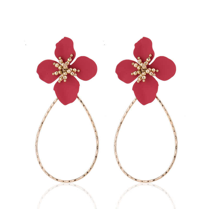 4 color red white painting flower stud earrings water drop shape big circle round statement earrings jewelry for women