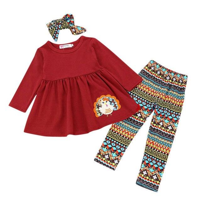 Baby Girl Clothing Set 3Pcs Toddler Infant Baby Girls Turkey Dresses Pants  Thanksgiving Day Outfits Set 3af0b7c0019c