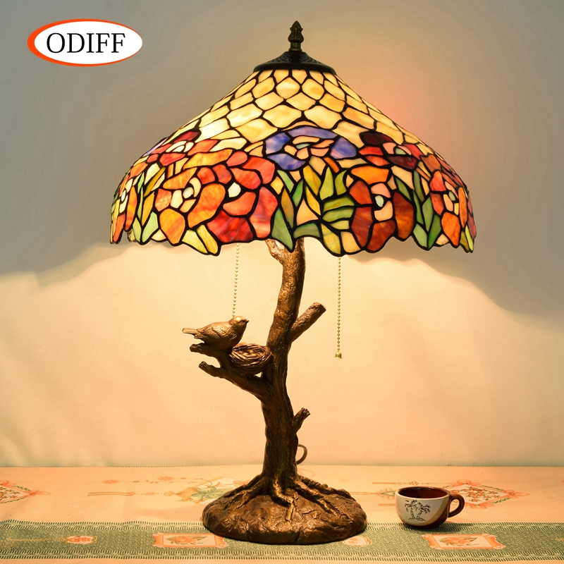 Eusolis 16-inch Stained Glass Vintage Table Lamp Classical Decorative Light Luminaria De Mesa Abajur Para Quarto Infantil desk lamp e27 base fabric lampshade table lamp for study abajur para quarto luminaria de mesa ac220 eu plug switch light