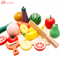 Children wooden kitchen cutting toys fruit vegetables plaything kits safe early development educational kids kitchen set  gifts