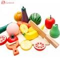 Crianças de madeira da cozinha brinquedo toys frutas legumes corte kits segura precoce desenvolvimento educacional crianças conjunto de cozinha presentes