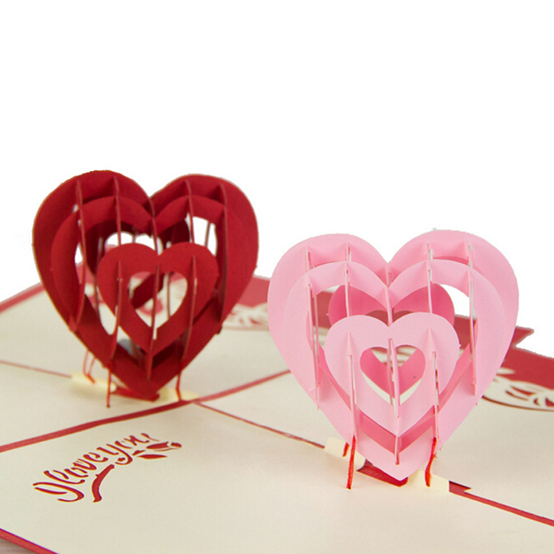 10 Pieces LotLove Heart Design Handmade Creative Kirigami Origami 3D Pop UP Greeting Gift Cards For Lovers Free Shipping In Invitations From