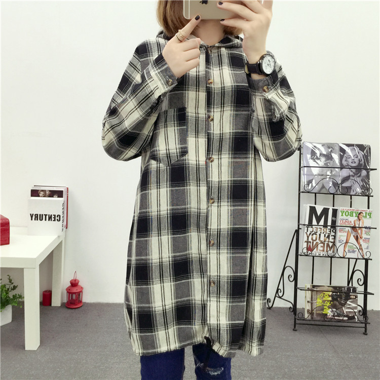 Brand Yan Qing Huan 2018 Spring Long Paragraph Large Size Plaid Shirt Fashion New Women's Casual Loose Long-sleeved Blouse Shirt 28