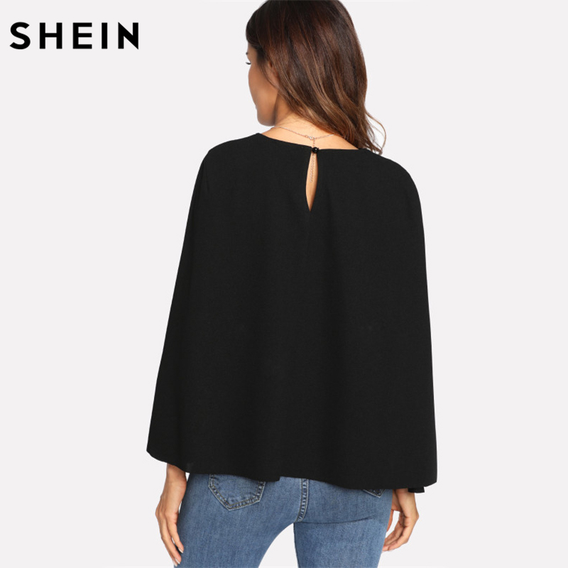 632e3d16ab SHEIN Womens Tops and Blouses Ladies Black Keyhole Back Cloak Sleeve Blouse  Party Wear Round Neck Regular Fit Women Tops-in Blouses & Shirts from  Women's ...