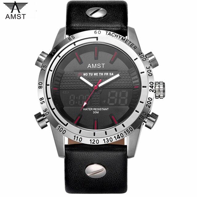 367c4dc10c1 2018 AMST dos homens Novos Do Esporte Da Forma Relógios Homens Analógica  LED Relógio de Quartzo