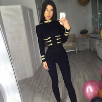 2018 New Fashion Show Style Cool Black Bandage Women Jacket Casual Long Sleeve Celebrity Cocktail Party Top Outfit Wholesale