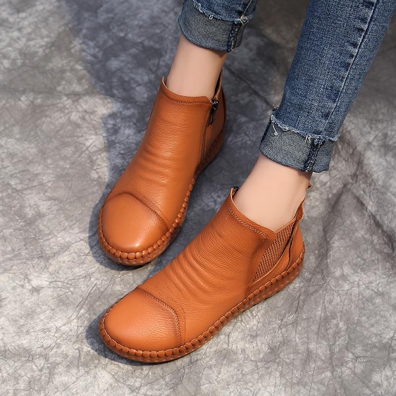 DONGNANFENG ใหม่ผู้หญิงแม่หญิงสุภาพสตรีรองเท้าหนังวัวแท้ Casual Slip บน Pigskin อ่อนขนาด 35 40 XY 2-ใน รองเท้าบูทหุ้มข้อ จาก รองเท้า บน   2