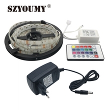 SZYOUMY 5 м SMD светодиодные полосы 5050 Светодиодные полосы света водонепроницаемый RGB гибкий линейный светодиодный лента Диодная лента с ИК-пультом дистанционного DC 12 В адаптер