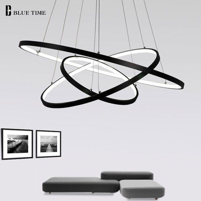 Candelabro Led moderno blanco y negro Rrings lámpara LED iluminación para la sala comedor cocina Hanglamp iluminación
